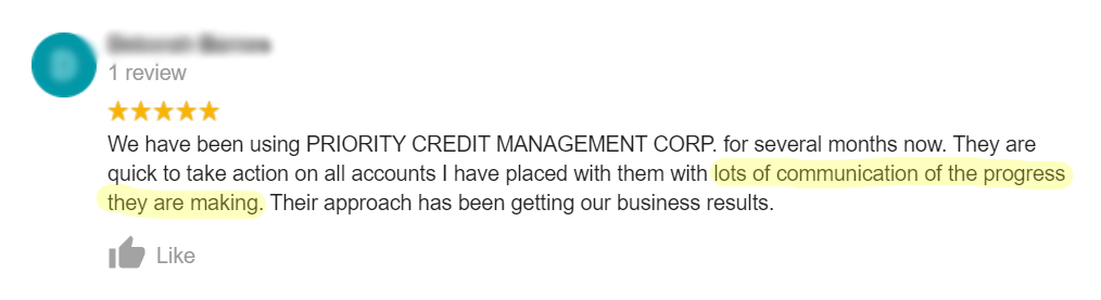 Progress Communication testimonial for Priority Credit Management Corp